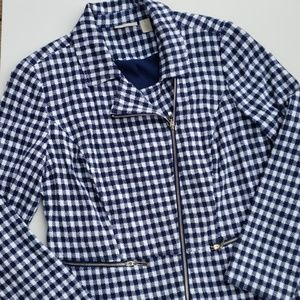 Chico's Gingham Plaid Check Jacket Navy White